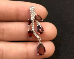 12.5ct Red Garnet 925 Sterling Silver Pendant