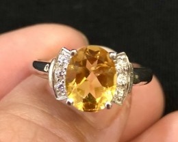 13.5ct Yellow Citrine 925 Sterling Silver Ring US 6.75