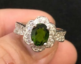 21ct Green Chrome Diopside 925 Sterling Silver Ring US 6
