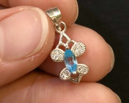 5ct Blue Topaz 925 Sterling Silver Pendant