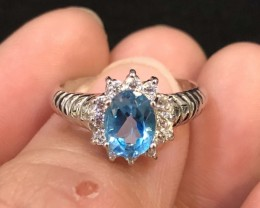 10.5ct Blue Topaz 925 Sterling Silver Ring US 5.75