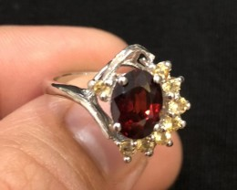 16.5ct Red Garnet 925 Sterling Silver Ring US 6