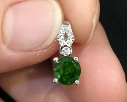 4ct Green Chrome Diopside 925 Sterling Silver Pendant