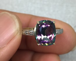 (B1) Brilliant Nat 3.0ct Mystic Topaz & Diamond Ring 10K YG 1.76gr