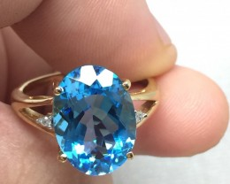 (B1) Authentic Cert. $1300 Nat. 8.85ct  Blue Topaz & Diamond Gold Ring
