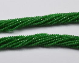 100% NATURAL AUTHENTIC GREEN ONYX FACETED RONDELLE BEADS (1 STRAND ONLY)GB9