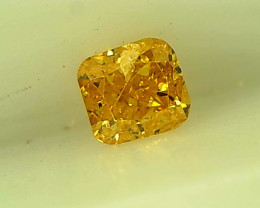 0.16cts  Fancy Intense Yellow Diamond, 100% Natural Untreated