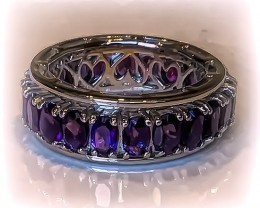 Stunning Spinning Amethyst  .925 Sterling Silver Ring No Reserve