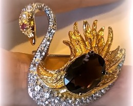 'Bejewelled Swan' Smoky Topaz Ruby Brooch No Reserve