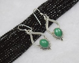 NATURAL UNTREATED MALACHITE EARRINGS 925 STERLING SILVER JE124
