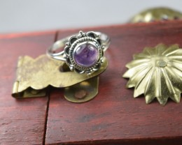 NATURAL UNTREATED AMETHYST RING 925 STERLING SILVER JE125
