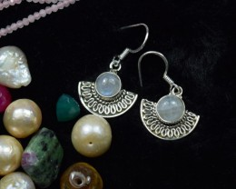 NATURAL UNTREATED RAINBOW MOONSTONE EARRINGS 925 STERLING SILVER JE130
