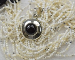 NATURAL UNTREATED BLACK ONYX PENDANT 925 STERLING SILVER JE132