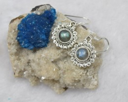 NATURAL UNTREATED LABRADORITE EARRINGS 925 STERLING SILVER JE136