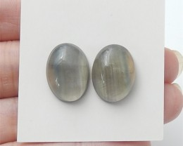20ct Natural Oval Rainbow Fluorite Cabochon Pair(18061902)