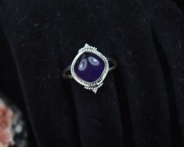 NATURAL UNTREATED AMETHYST RING 925 STERLING SILVER JE140