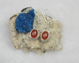 NATURAL UNTREATED CARNELIAN EARRINGS 925 STERLING SILVER JE142