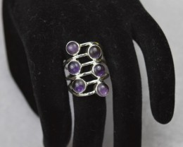 NATURAL UNTREATED AMETHYST RING 925 STERLING SILVER JE143