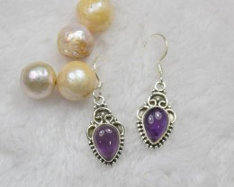 NATURAL UNTREATED AMETHYST EARRINGS 925 STERLING SILVER JE145
