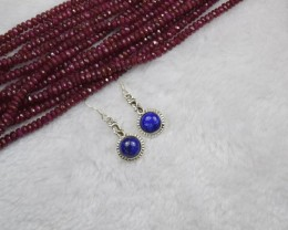 NATURAL UNTREATED LAPIS LAZULI EARRINGS 925 STERLING SILVER JE148