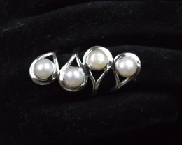 NATURAL FRESH WATER PEARL RING 925 STERLING SILVER JE159