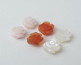 10ct Special Gift Natural Red Agate .Pink Opal And M.O.P Craved Flower Earr
