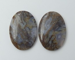 84.5ct New Arrival Natural Oval Bamboom Agate Cabochon Pair(18061910)