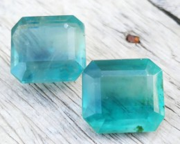26.90 Ct Natural Sky Blueish Color Fluorite Pair Gemstone