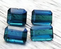 3.45 Ct Natural Dark Blue Tourmaline 4 Pieces Parcel Gemstones