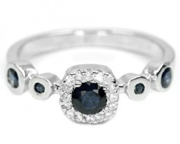 12ct Blue Sapphhire 925 Sterling Silver Ring US 6.75