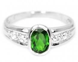 9ct Chrome Diopside 925 Sterling Silver Ring US 7