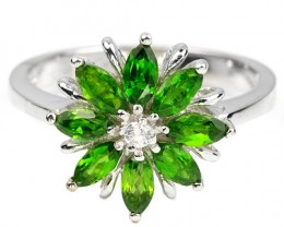 16.5ct Green Chrome Diopside 925 Sterling Silver Ring US 8