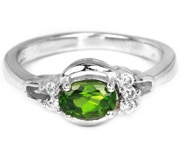 12ct Chrome Diopside 925 Sterling Silver Ring US 6