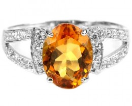 15ct Yellow Citrine 925 Sterling Silver Ring US 9.5