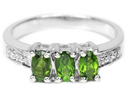 14.5ct Chrome Diopside 925 Sterling Silver Ring US 6
