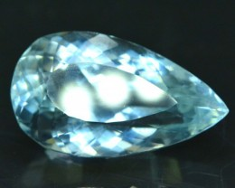 No Reserve - 35.25 cts Pear Cut Flawless Aqua Color Kunzite Gemstone From A