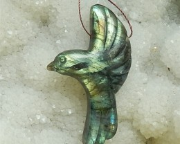 79ct Hot Sale Natural Labradorite Craved Flying Bird Pendant (18062111)