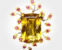 Citrine Ruby Brooch (Large) 'Dancing with the Light' 14kt Gold over Sterlin