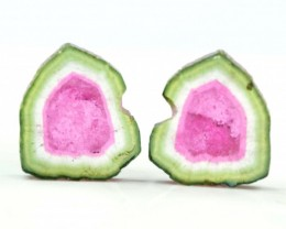 8.25 cts Super Quality Complete Watermelon Tourmaline Slices Pair