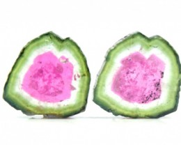 12.15 cts Super Quality Complete Watermelon Tourmaline Slices Pair