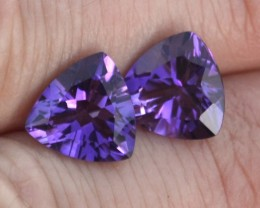 5.91 Carat Matched Pair of Very Fine Trillion Cut Amethyst