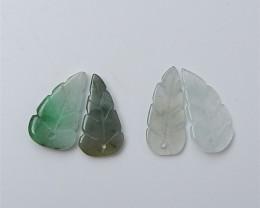 17ct Fashion Natural Jade Gemstone Carved Leaf Beads (18062305)