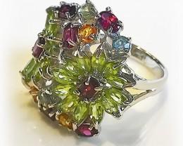 Stunning Garnet Peridot Sapphire Peridot Daisy .925 Sterling Silver Ring No