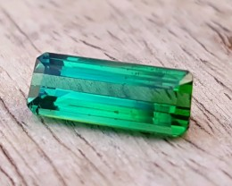 1.90 Ct Natural Bi Color Greenish Blue Transparent Tourmaline Gem