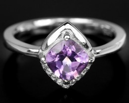 17ct Purple Amethyst 925 Sterling Silver Ring US 7