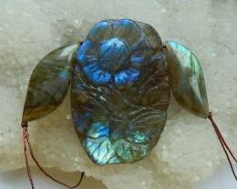 Beautiful Blue Flash Labradorite Carved Fower Pendant Bead42x29x7,25x10x6mm