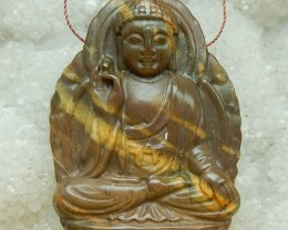 160.5ct Natural US Picture Jasper Carved Buddha Head Pendant Bead 53x38x11m