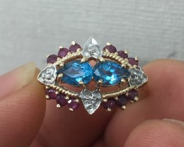 (B2) $2000 Nat. 1.25ct Blue Topaz Ruby &Diamond Cocktail Ring 10K  YG