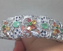 (B2) Nat 107.0tcw. Chrome Diopside Emerald & Sapphire Bangle
