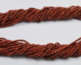 100% NATURAL AUTHENTIC RED JASPER FACETED RONDELLE BEADS (1 STRAND ONLY)